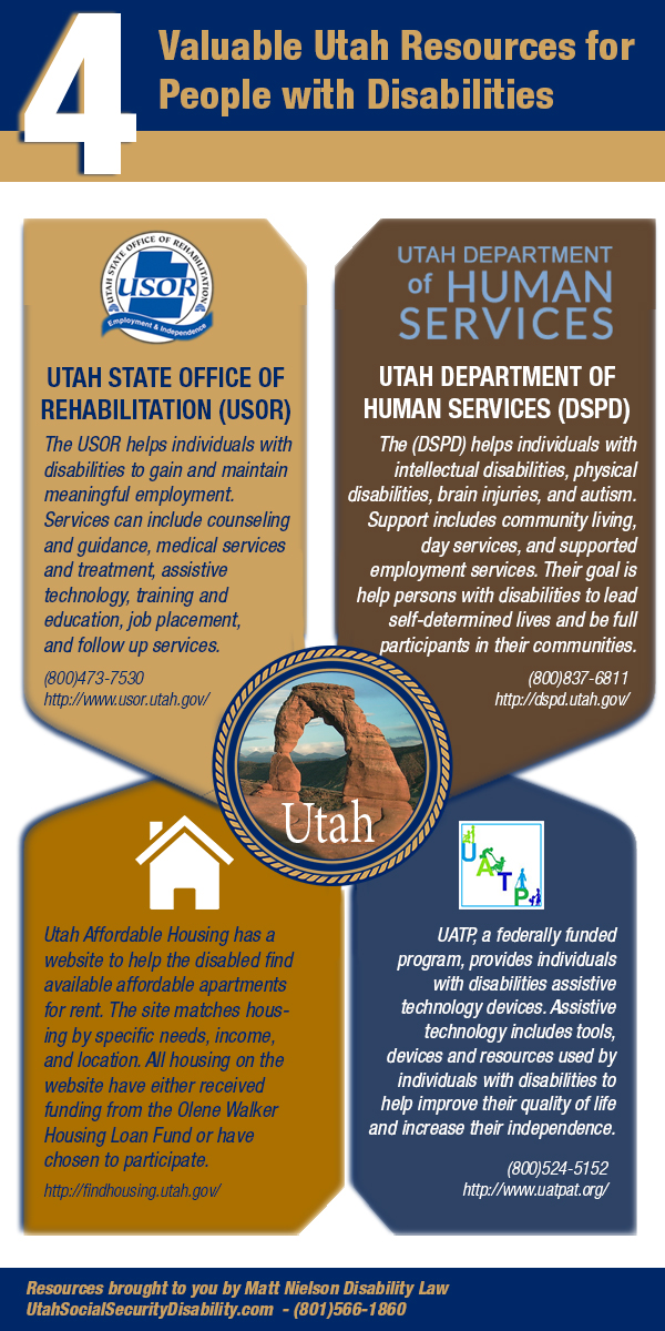 Infographic – 4 Valuable Utah Resources for People with Disabilities - An Infographic from Utah Disability Law Experts